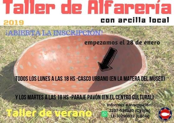 Abrió la inscripción al Taller de Alfarería en Pavón y Casco Urbano